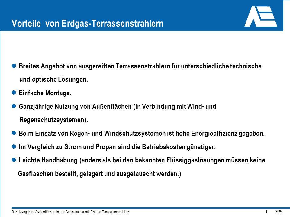 2004 5 Beheizung vom Außenflächen in der Gastronomie mit Erdgas-Terrassenstrahlern Vorteile von Erdgas-Terrassenstrahlern Breites Angebot von ausgereiften Terrassenstrahlern für unterschiedliche technische und optische Lösungen.