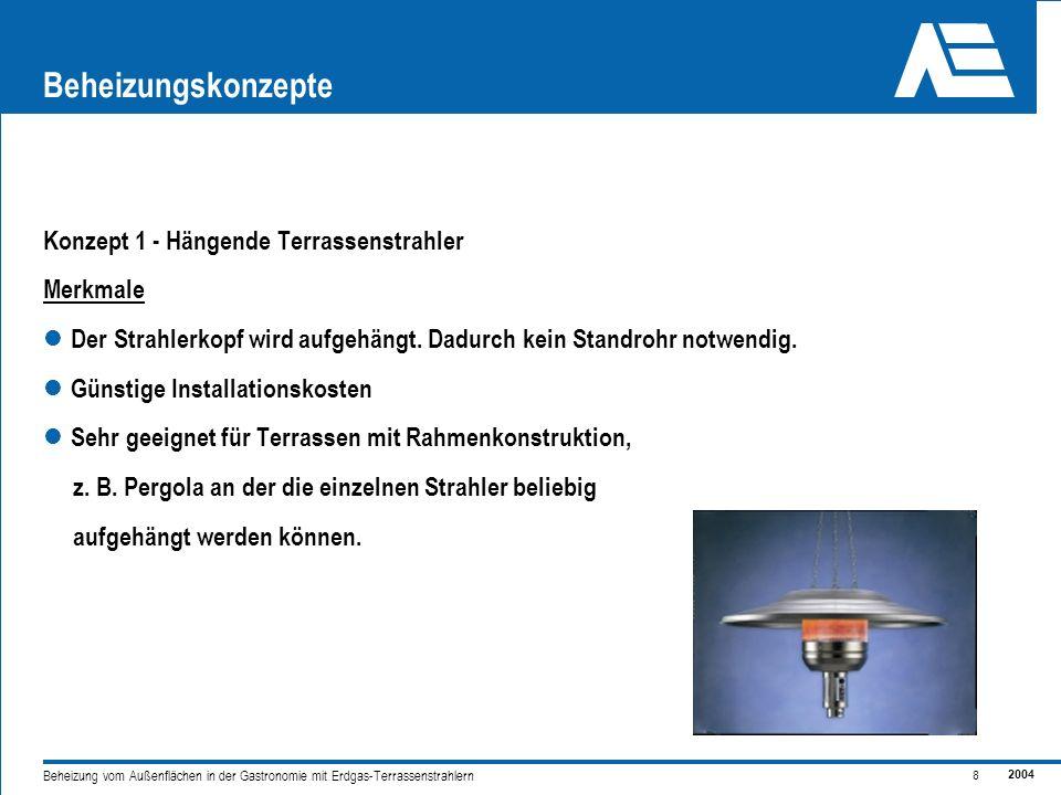 2004 8 Beheizung vom Außenflächen in der Gastronomie mit Erdgas-Terrassenstrahlern Beheizungskonzepte Konzept 1 - Hängende Terrassenstrahler Merkmale Der Strahlerkopf wird aufgehängt.