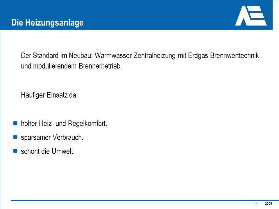 2005 13 Die Heizungsanlage Der Standard im Neubau: Warmwasser-Zentralheizung mit Erdgas-Brennwerttechnik und modulierendem Brennerbetrieb. Häufiger Ei