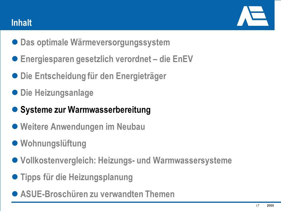 2005 17 Inhalt Das optimale Wärmeversorgungssystem Energiesparen gesetzlich verordnet – die EnEV Die Entscheidung für den Energieträger Die Heizungsan