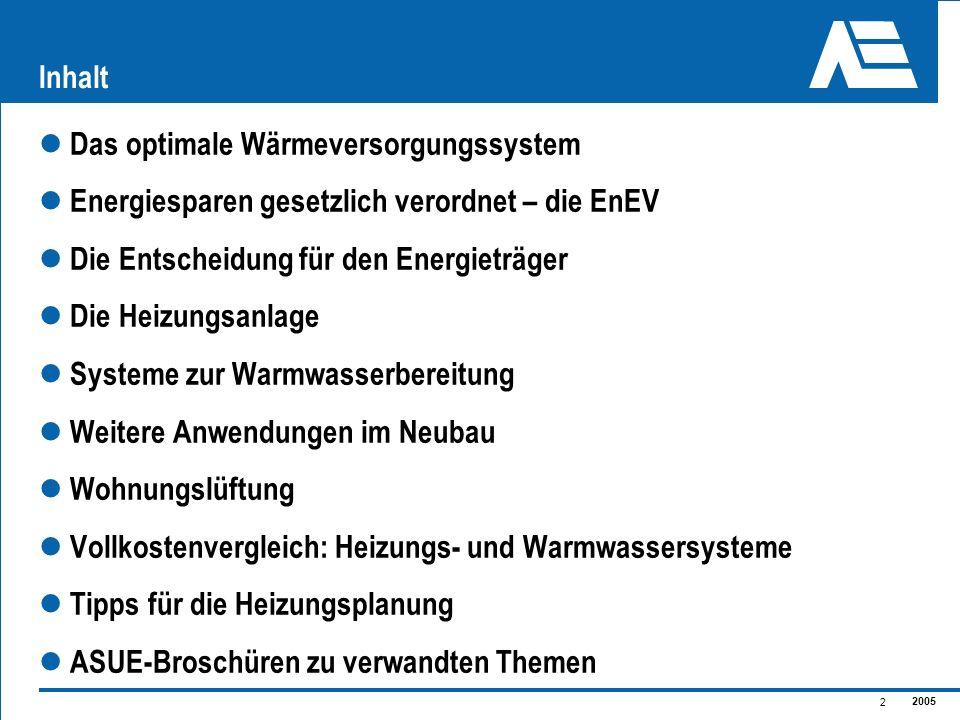 2005 2 Inhalt Das optimale Wärmeversorgungssystem Energiesparen gesetzlich verordnet – die EnEV Die Entscheidung für den Energieträger Die Heizungsanl