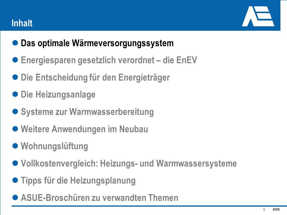 2005 3 Inhalt Das optimale Wärmeversorgungssystem Energiesparen gesetzlich verordnet – die EnEV Die Entscheidung für den Energieträger Die Heizungsanl