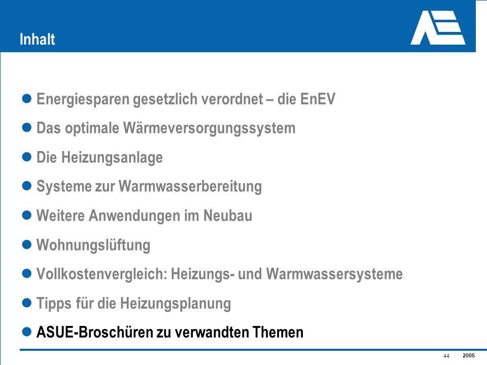 2005 44 Inhalt Energiesparen gesetzlich verordnet – die EnEV Das optimale Wärmeversorgungssystem Die Heizungsanlage Systeme zur Warmwasserbereitung We