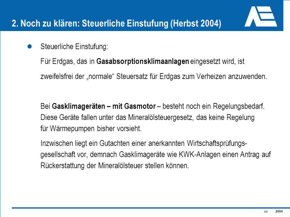 2004 44 2. Noch zu klären: Steuerliche Einstufung (Herbst 2004) Steuerliche Einstufung: Für Erdgas, das in Gasabsorptionsklimaanlagen eingesetzt wird,