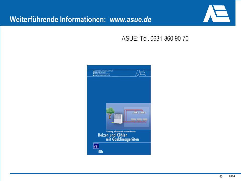 2004 50 Weiterführende Informationen: www.asue.de ASUE: Tel. 0631 360 90 70