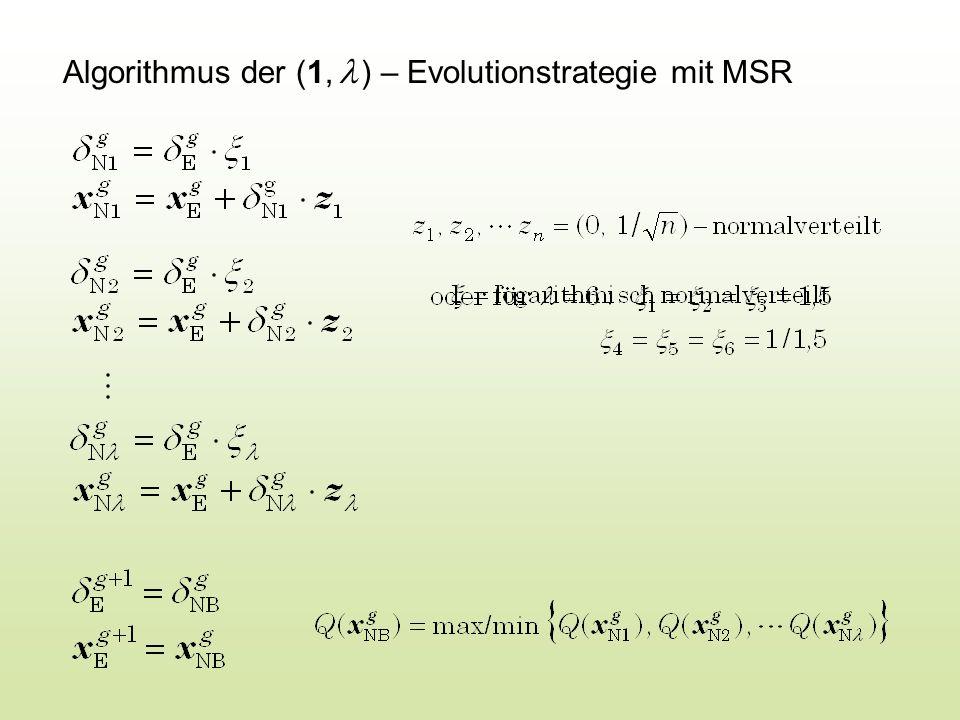 Algorithmus der (1, ) – Evolutionstrategie mit MSR