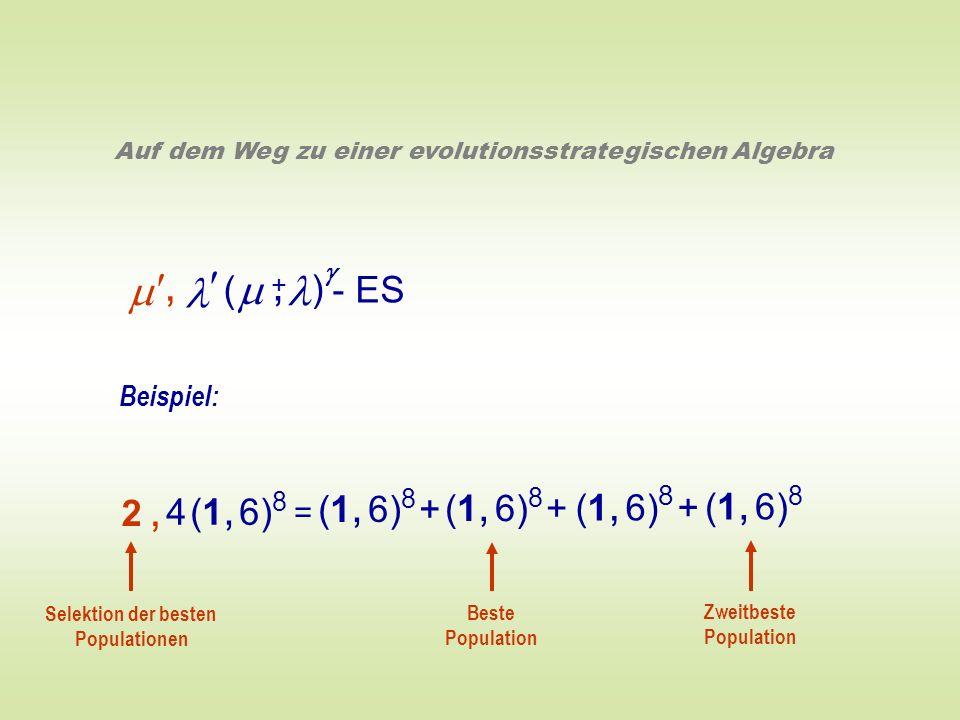 ( ) - ES +, Auf dem Weg zu einer evolutionsstrategischen Algebra Beispiel: = (1, 6) 8 + (1, 6) 8 4 (1, 6) 8 2,2, Beste Population Zweitbeste Populatio