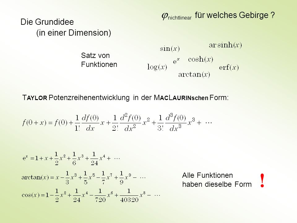Die Grundidee (in einer Dimension) Satz von Funktionen Alle Funktionen haben dieselbe Form T AYLOR Potenzreihenentwicklung in der M AC L AURINschen Fo