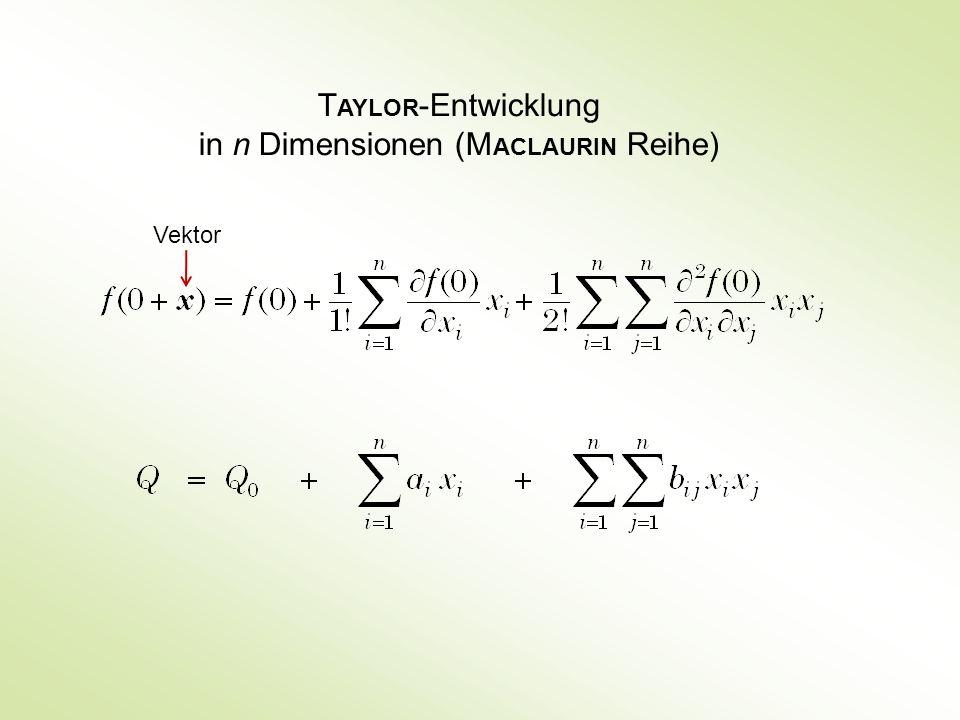 T AYLOR -Entwicklung in n Dimensionen (M ACLAURIN Reihe) Vektor