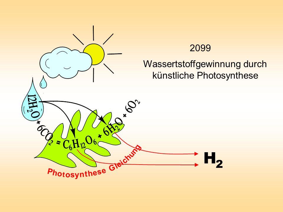 Wassertstoffgewinnung durch künstliche Photosynthese H 2 P h o t o s y n t e s e h G l e i c h u n g 2099