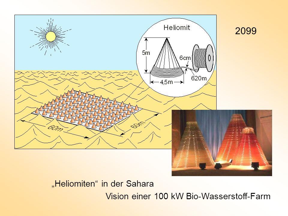 2099 Heliomiten in der Sahara Vision einer 100 kW Bio-Wasserstoff-Farm