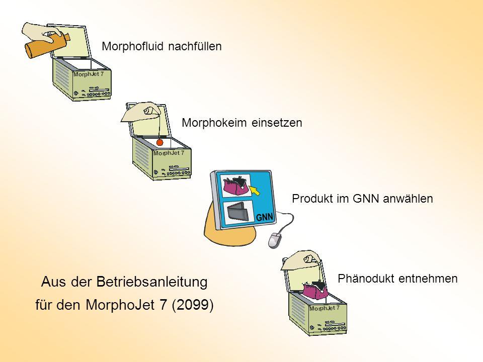 Morphofluid nachfüllen Morphokeim einsetzen Produkt im GNN anwählen Phänodukt entnehmen Aus der Betriebsanleitung für den MorphoJet 7 (2099) GNN