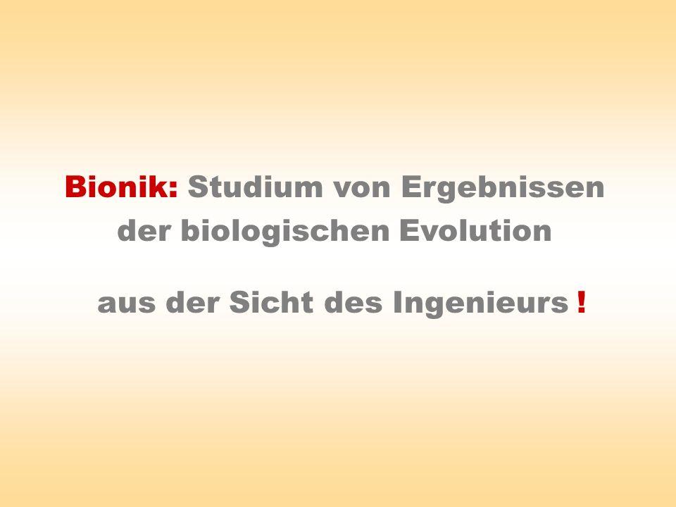 Bionik: Studium von Ergebnissen der biologischen Evolution aus der Sicht des Ingenieurs !
