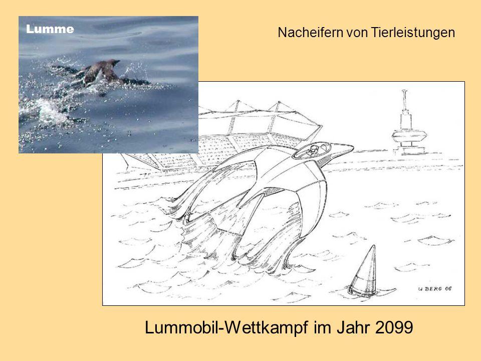 Lummobil-Wettkampf im Jahr 2099 Lumme Nacheifern von Tierleistungen