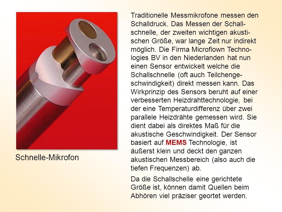 Traditionelle Messmikrofone messen den Schalldruck. Das Messen der Schall- schnelle, der zweiten wichtigen akusti- schen Größe, war lange Zeit nur ind