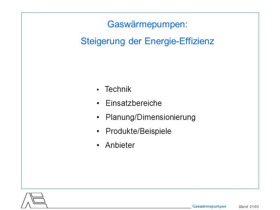 Stand 01/03 Gaswärmepumpen Gaswärmepumpen: Steigerung der Energie-Effizienz Technik Einsatzbereiche Planung/Dimensionierung Produkte/Beispiele Anbiete
