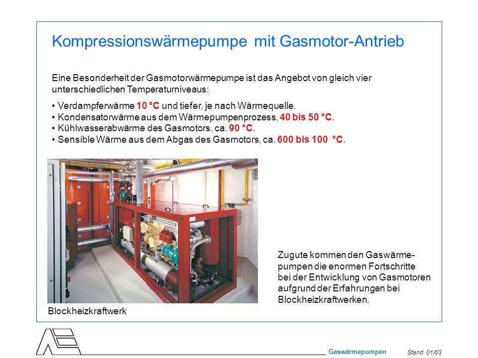 Stand 01/03 Gaswärmepumpen Kompressionswärmepumpe mit Gasmotor-Antrieb Eine Besonderheit der Gasmotorwärmepumpe ist das Angebot von gleich vier unters