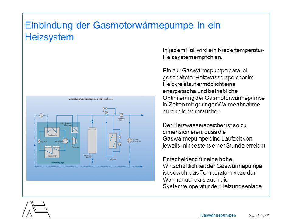 Stand 01/03 Gaswärmepumpen Einbindung der Gasmotorwärmepumpe in ein Heizsystem In jedem Fall wird ein Niedertemperatur- Heizsystem empfohlen. Ein zur