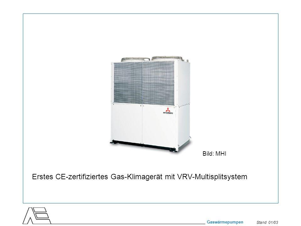 Stand 01/03 Gaswärmepumpen Erstes CE-zertifiziertes Gas-Klimagerät mit VRV-Multisplitsystem Bild: MHI