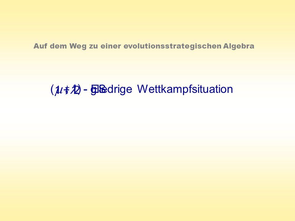 1 + 1 ( ) 2 - gliedrige Wettkampfsituation- ES, +, Auf dem Weg zu einer evolutionsstrategischen Algebra