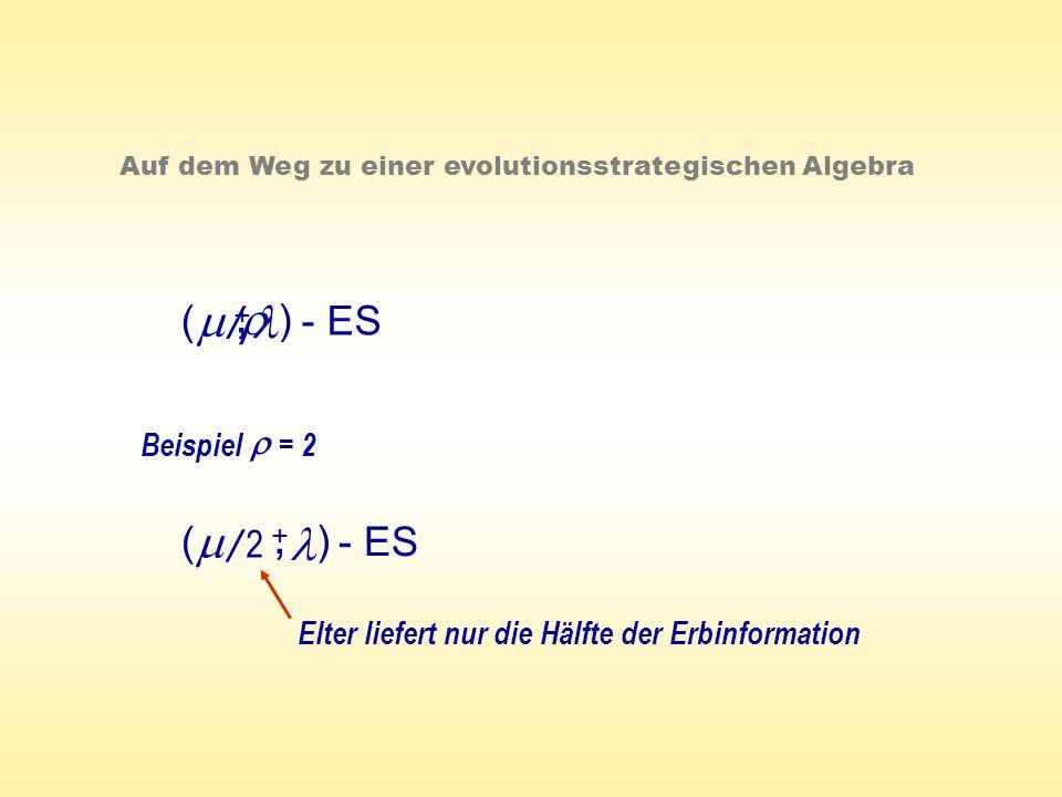 ( ) - ES +, Auf dem Weg zu einer evolutionsstrategischen Algebra / Beispiel = 2 ( ) - ES +, / 2 Elter liefert nur die Hälfte der Erbinformation