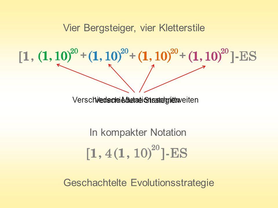 In kompakter Notation Geschachtelte Evolutionsstrategie Vier Bergsteiger, vier Kletterstile Verschiedene Mutationsschrittweiten Verschiedene Strategie