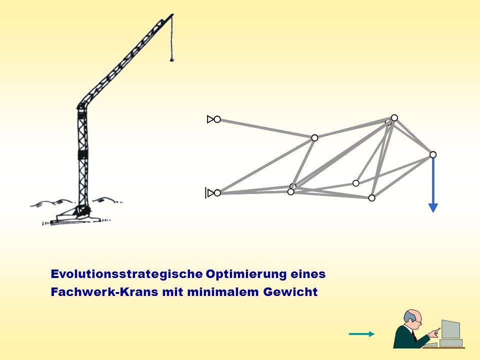 Evolutionsstrategische Optimierung eines Fachwerk-Krans mit minimalem Gewicht