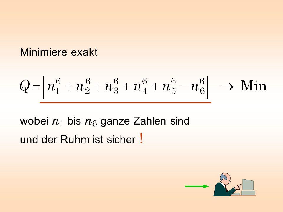 Minimiere exakt wobei n 1 bis n 6 ganze Zahlen sind und der Ruhm ist sicher !