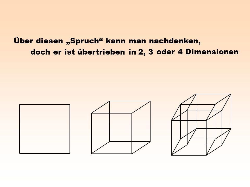 Über diesen Spruch kann man nachdenken, 2, 3 oder 4 Dimensionen doch er ist übertrieben in