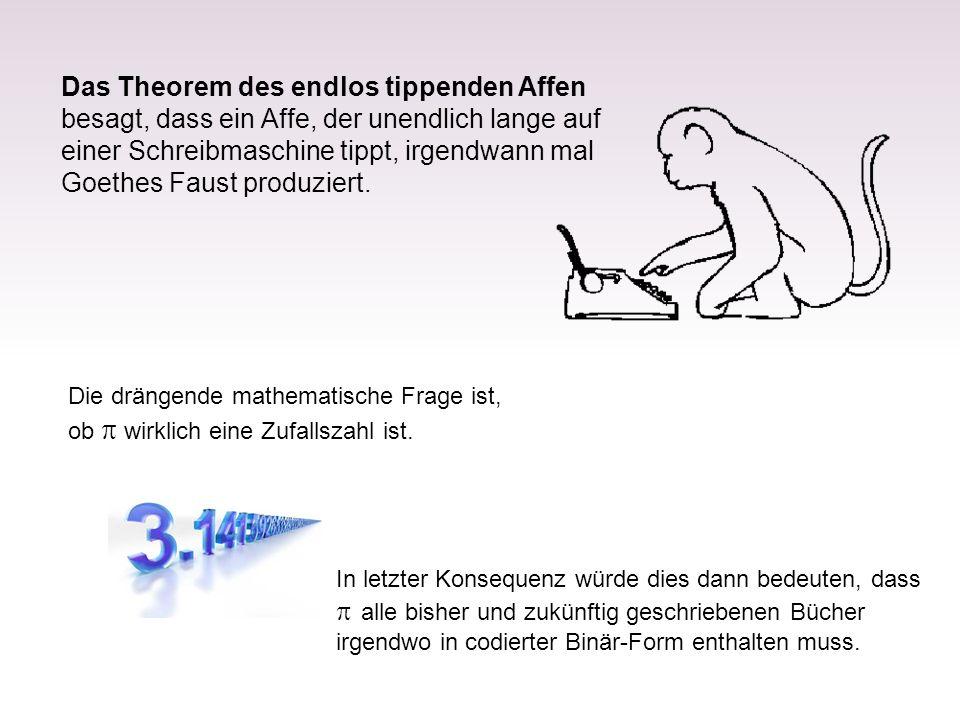 Das Theorem des endlos tippenden Affen besagt, dass ein Affe, der unendlich lange auf einer Schreibmaschine tippt, irgendwann mal Goethes Faust produz