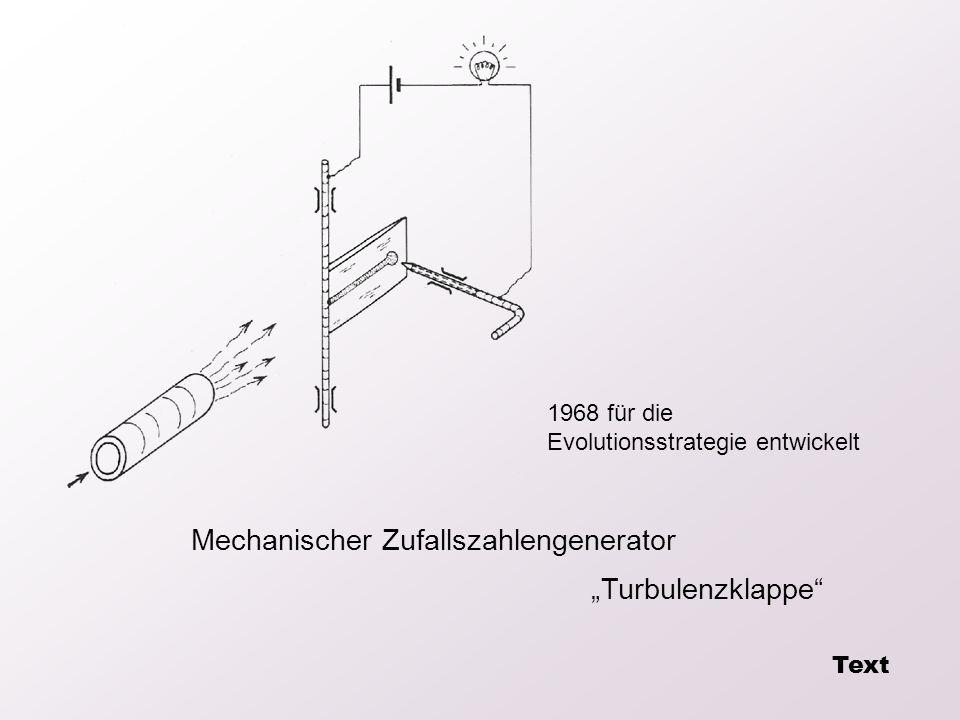 Mechanischer Zufallszahlengenerator Turbulenzklappe 1968 für die Evolutionsstrategie entwickelt Text