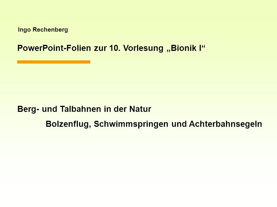 Ingo Rechenberg PowerPoint-Folien zur 10. Vorlesung Bionik I Berg- und Talbahnen in der Natur Bolzenflug, Schwimmspringen und Achterbahnsegeln