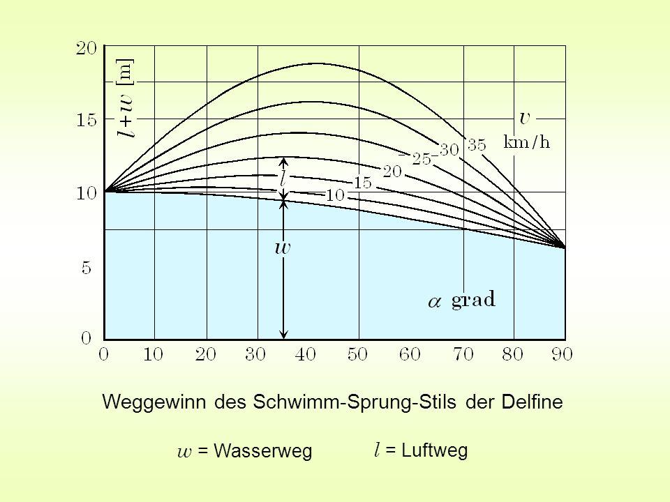 Weggewinn des Schwimm-Sprung-Stils der Delfine w = Wasserweg l = Luftweg