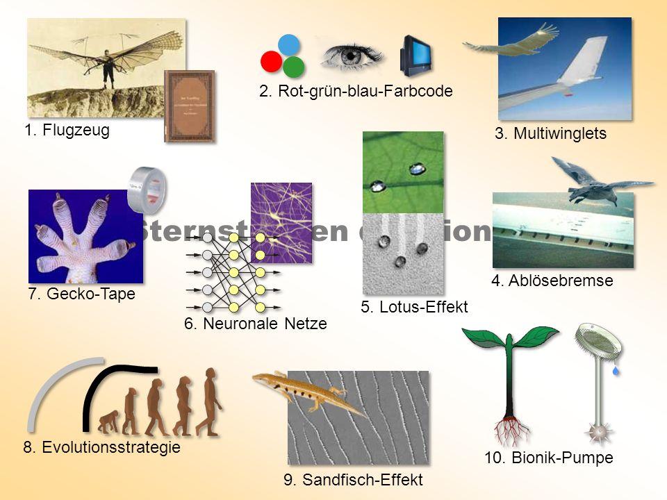 Sternstunden der Bionik 1 3. Multiwinglets 9. Sandfisch-Effekt 2. Rot-grün-blau-Farbcode 6. Neuronale Netze 5. Lotus-Effekt 1. Flugzeug 4. Ablösebrems