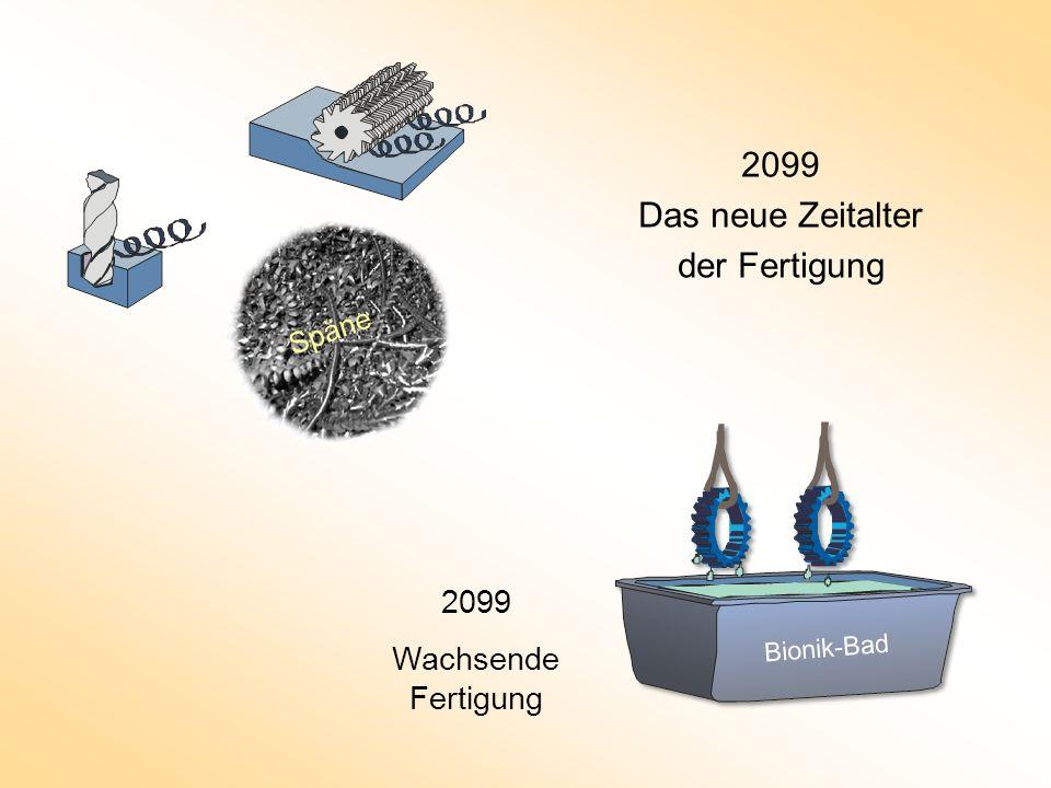 2099 Das neue Zeitalter der Fertigung 2008 Spanende Fertigung 2099 Wachsende Fertigung Bionik-Bad Späne