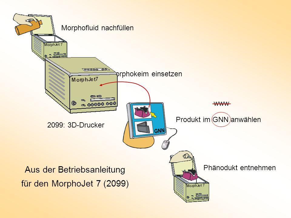 Morphofluid nachfüllen Morphokeim einsetzen Produkt im GNN anwählen Phänodukt entnehmen Aus der Betriebsanleitung für den MorphoJet 7 (2099) GNN www 2099: 3D-Drucker