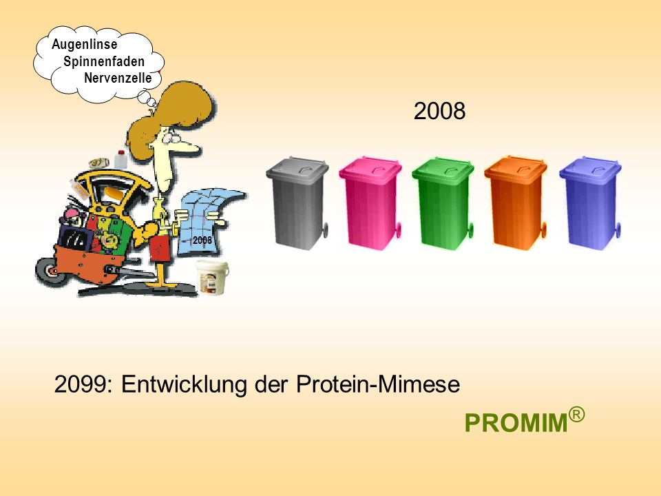 2099: Entwicklung der Protein-Mimese 2008 PROMIM ® ? 2008 Augenlinse Spinnenfaden Nervenzelle