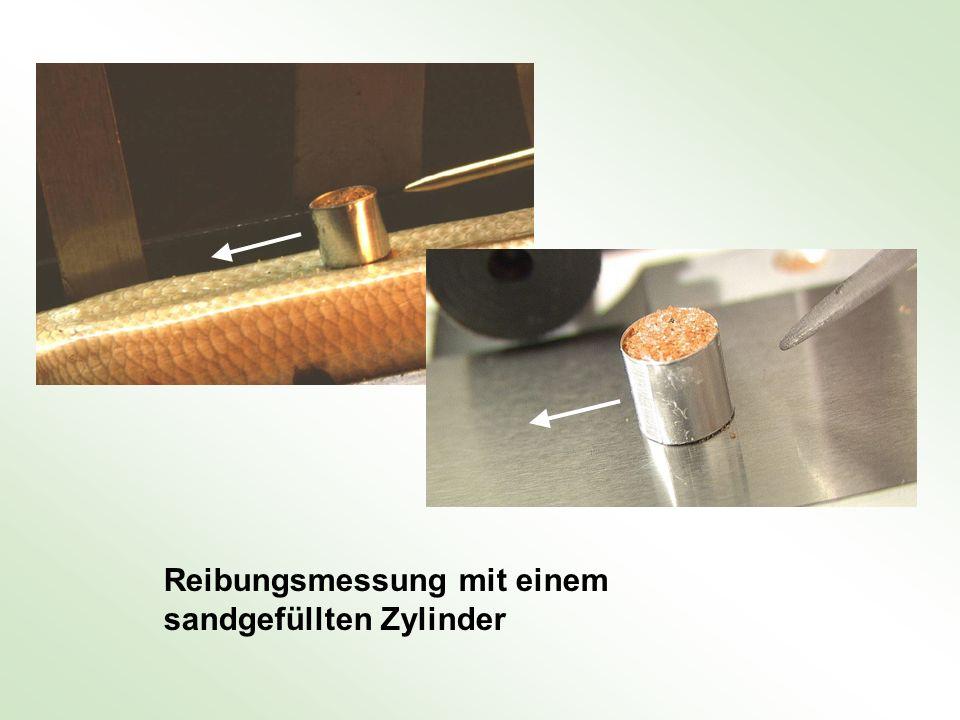 Reibungsmessung mit einem sandgefüllten Zylinder