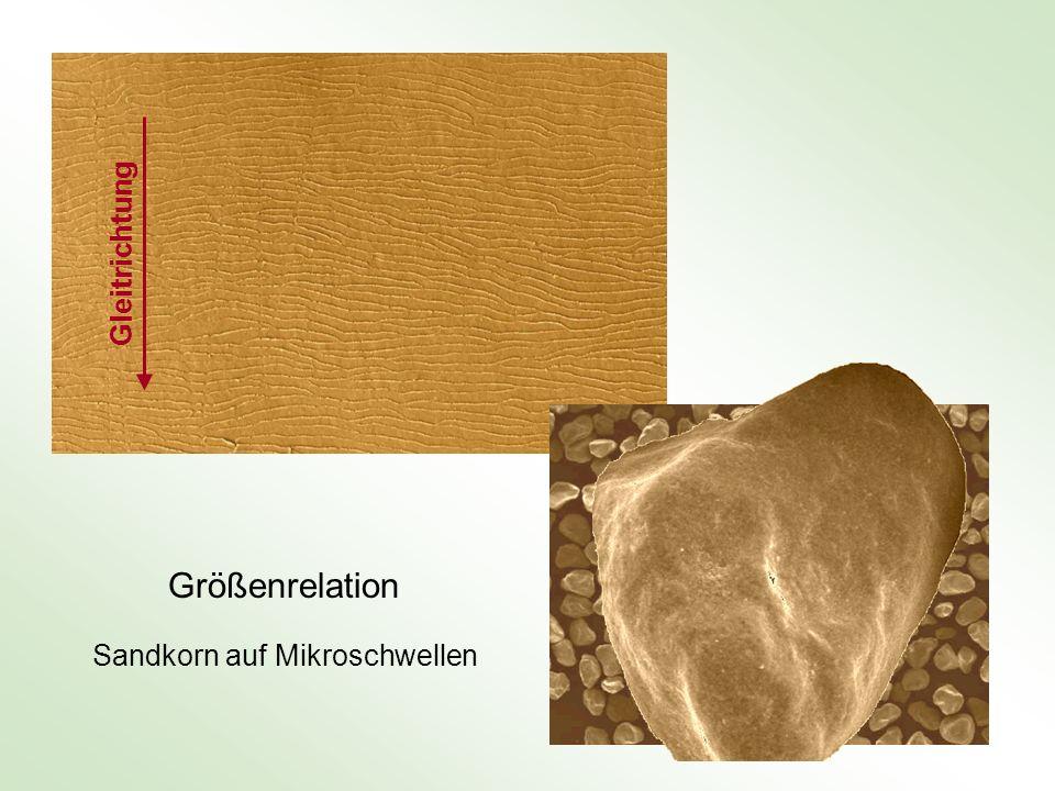 Größenrelation Sandkorn auf Mikroschwellen Gleitrichtung