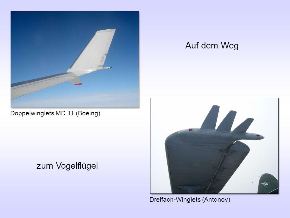 Doppelwinglets MD 11 (Boeing) Auf dem Weg Dreifach-Winglets (Antonov) zum Vogelflügel