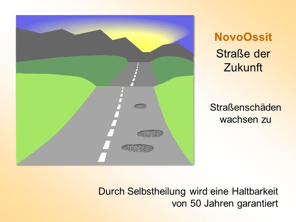 NovoOssit Straße der Zukunft Durch Selbstheilung wird eine Haltbarkeit von 50 Jahren garantiert Straßenschäden wachsen zu