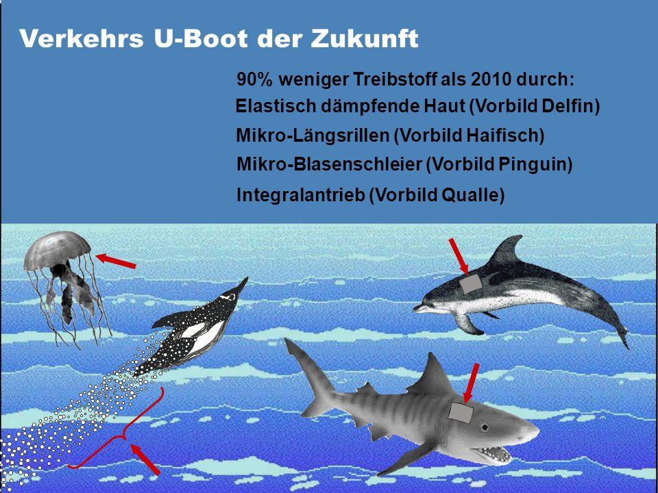 Verkehrs U-Boot der Zukunft 90% weniger Treibstoff als 2010 durch: Elastisch dämpfende Haut (Vorbild Delfin) Mikro-Längsrillen (Vorbild Haifisch) Mikr