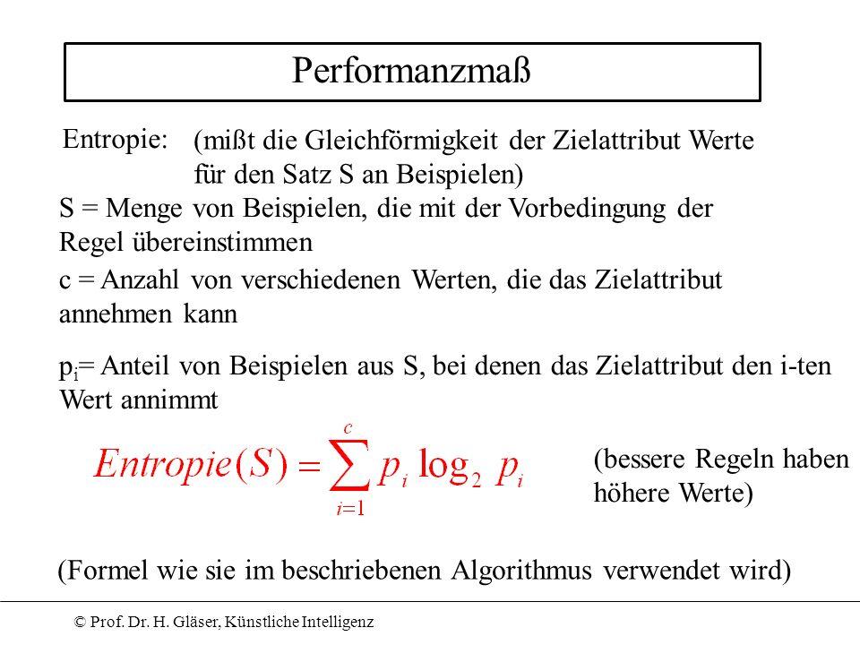 © Prof. Dr. H. Gläser, Künstliche Intelligenz Performanzmaß Entropie: S = Menge von Beispielen, die mit der Vorbedingung der Regel übereinstimmen c =