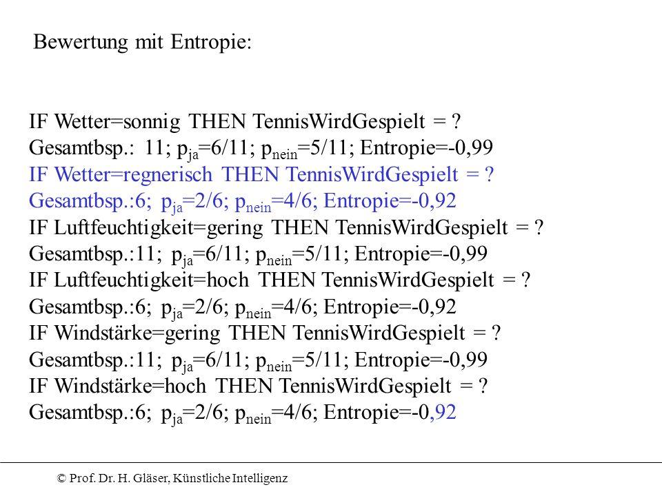 © Prof. Dr. H. Gläser, Künstliche Intelligenz IF Wetter=sonnig THEN TennisWirdGespielt = ? Gesamtbsp.: 11; p ja =6/11; p nein =5/11; Entropie=-0,99 IF