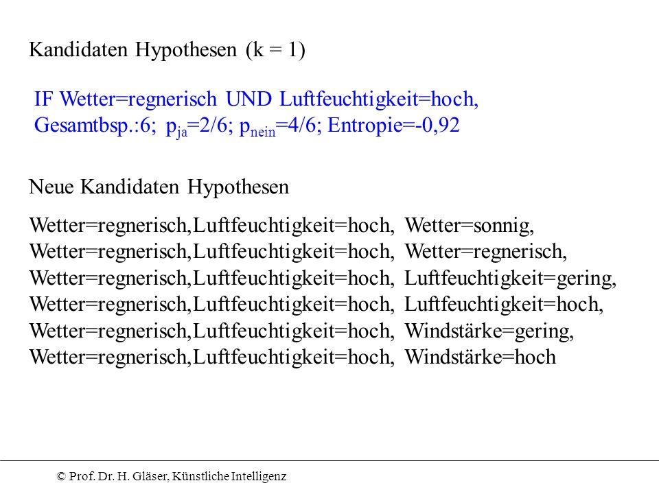 © Prof. Dr. H. Gläser, Künstliche Intelligenz Kandidaten Hypothesen (k = 1) Neue Kandidaten Hypothesen Wetter=regnerisch,Luftfeuchtigkeit=hoch, Wetter