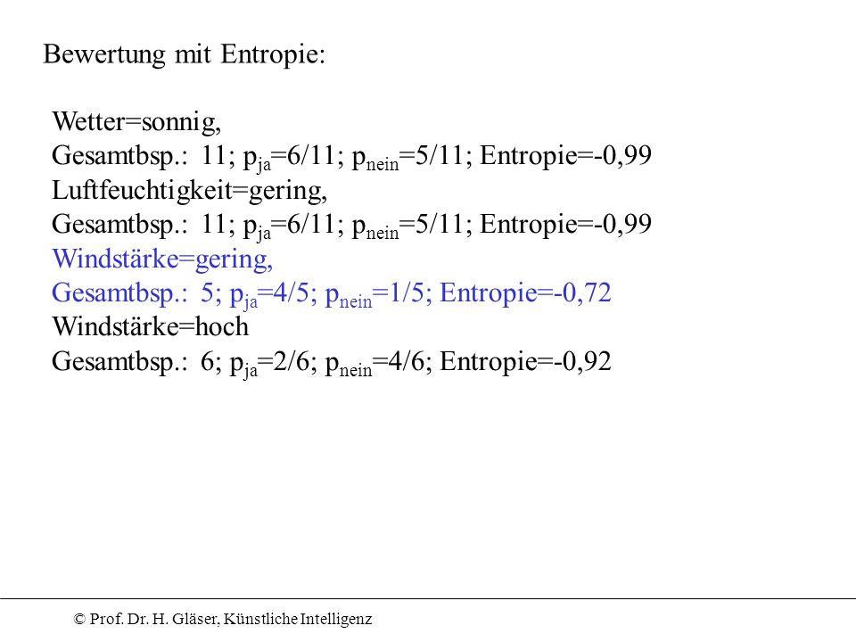 © Prof. Dr. H. Gläser, Künstliche Intelligenz Bewertung mit Entropie: Wetter=sonnig, Gesamtbsp.: 11; p ja =6/11; p nein =5/11; Entropie=-0,99 Luftfeuc