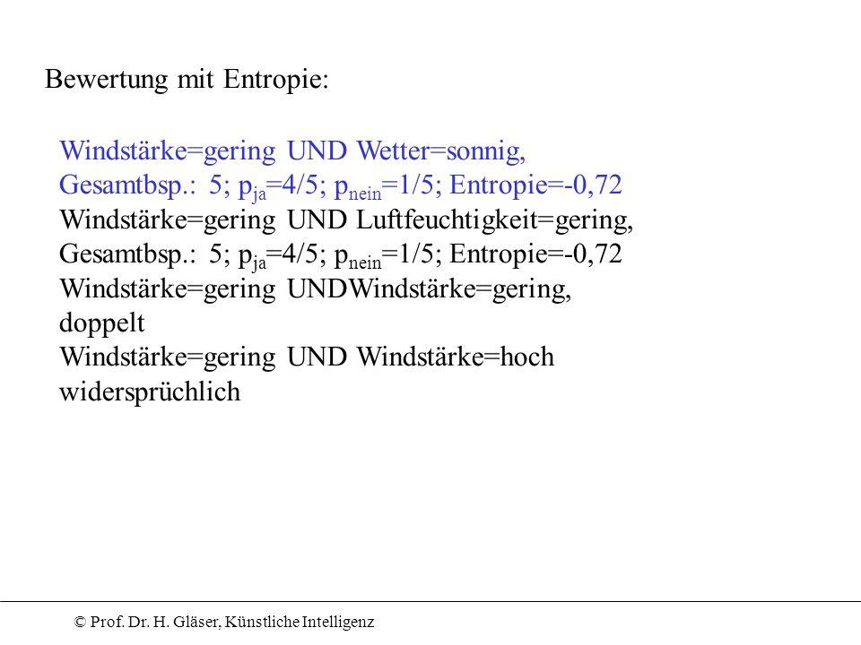 © Prof. Dr. H. Gläser, Künstliche Intelligenz Bewertung mit Entropie: Windstärke=gering UND Wetter=sonnig, Gesamtbsp.: 5; p ja =4/5; p nein =1/5; Entr