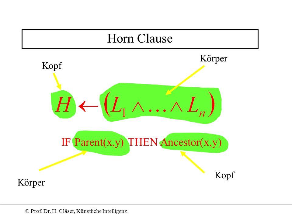 © Prof. Dr. H. Gläser, Künstliche Intelligenz Horn Clause Kopf Körper IF Parent(x,y) THEN Ancestor(x,y) Kopf Körper