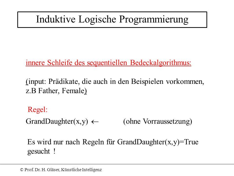 © Prof. Dr. H. Gläser, Künstliche Intelligenz Induktive Logische Programmierung innere Schleife des sequentiellen Bedeckalgorithmus: (input: Prädikate