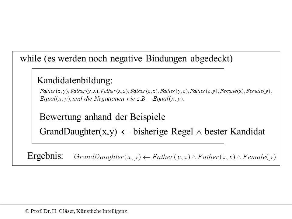 © Prof. Dr. H. Gläser, Künstliche Intelligenz while (es werden noch negative Bindungen abgedeckt) Kandidatenbildung: Bewertung anhand der Beispiele Gr